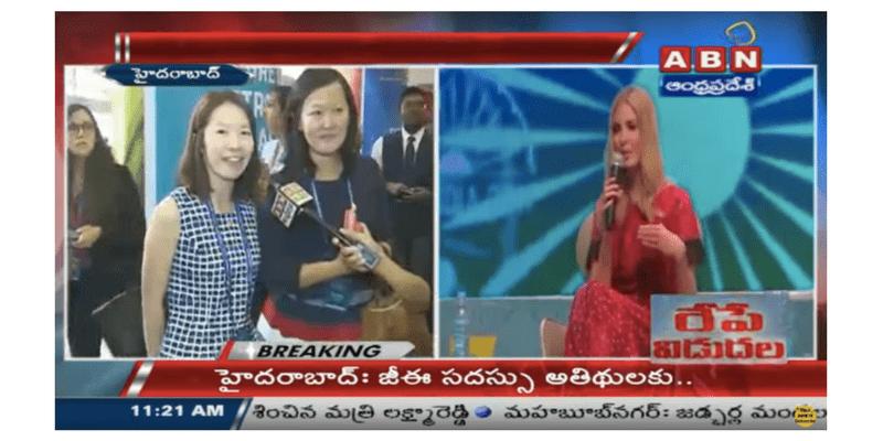 印度當地媒體 ABN India、India Today、The Hans India 採訪報導王琍瑩律師代表台灣出席由白宮資深顧問 Ivanka Trump 與印度總理 Narendra Modi 共同主持的 GES 2017 全球企業家峰會。